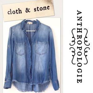 Anthropologie Cloth & Stone chambray button-down